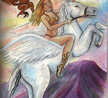 Athena Upon Pegasus by DarkRubyMoon