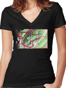 Yonori: Red Ribbons Women's Fitted V-Neck T-Shirt