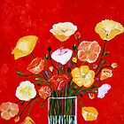 Vase of Poppies by Debbie  Widmer