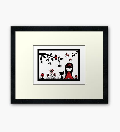 Little Red Ribbon Head Framed Print