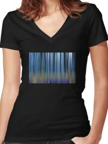 abstract blue forest  Women's Fitted V-Neck T-Shirt
