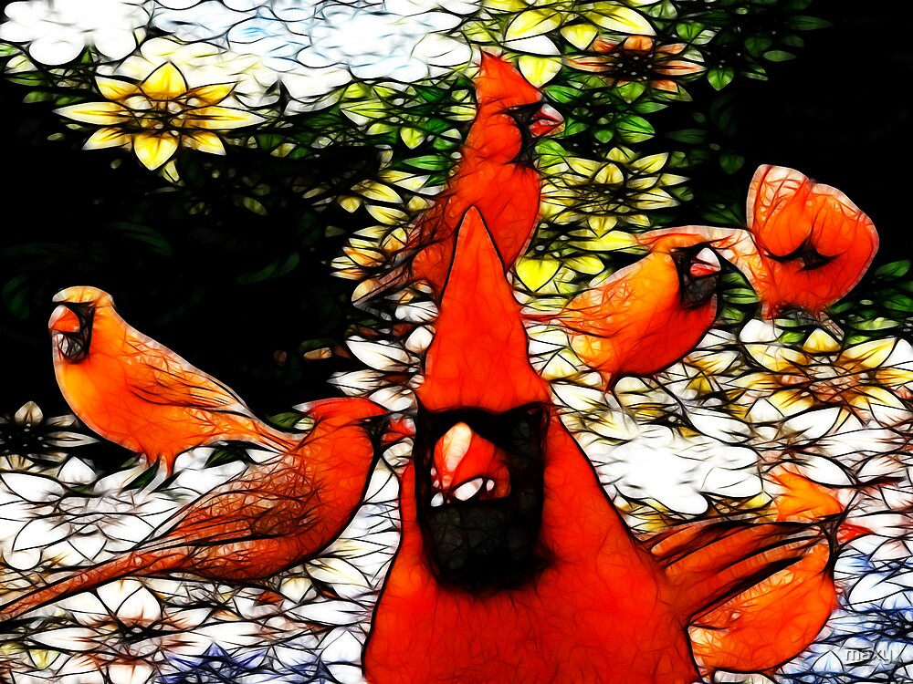 The Tiffany Glass Cardinals by maxy