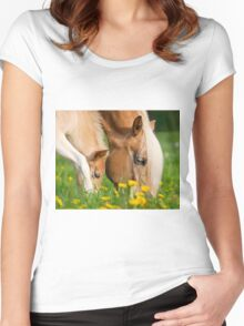 Common dinner, foal with mom Women's Fitted Scoop T-Shirt