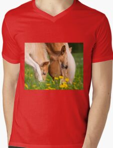 Common dinner, foal with mom Mens V-Neck T-Shirt