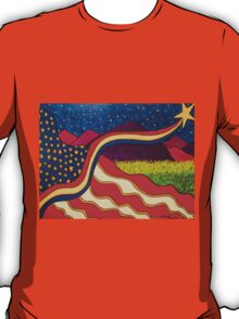 Flag With Purple Mountains  T-Shirt