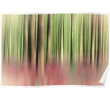 green and red abstract forest Poster