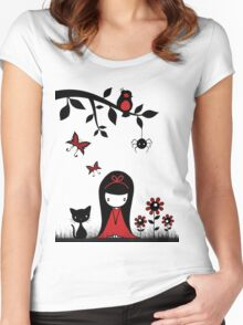 Little Red Ribbon Head Women's Fitted Scoop T-Shirt
