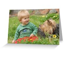 Tyler & Peppy - He sure loves dogs! Greeting Card