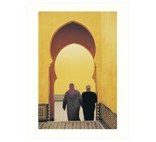Two Women inside Mausoleum of Moulay Ismail, Meknes  Art Print