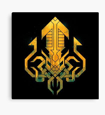 Golden Kraken Sigil Canvas Print