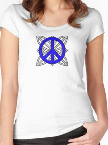 Peace Sign Blue over Gray Women's Fitted Scoop T-Shirt