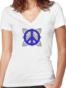 Peace Sign Blue over Gray Women's Fitted V-Neck T-Shirt