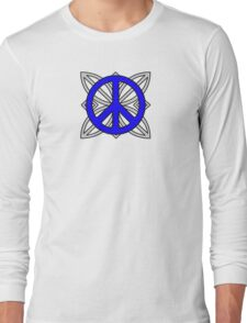 Peace Sign Blue over Gray Long Sleeve T-Shirt