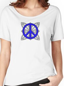 Peace Sign Blue over Gray Women's Relaxed Fit T-Shirt