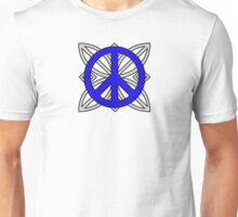 Peace Sign Blue over Gray Unisex T-Shirt