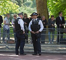 Police officers in the mall during the State Opening Of Parliament London by Keith Larby
