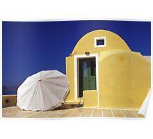 White Umbrella on Terrace of Yellow House, Santorini  Poster