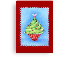 Christmas Tree Cupcake red Canvas Print