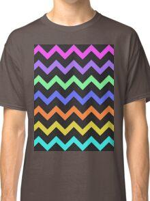 Pink Purple Green Blue Orange Yellow Black Summer Fun Chevron Classic T-Shirt