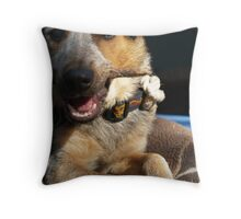 The Puppy & The Yummy Stick. Throw Pillow