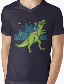 Dino Rider Mens V-Neck T-Shirt