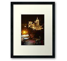 Edinbustle! (busy street, night in Scotland's capital) Framed Print