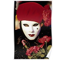 Carnival Mask with Red Roses, Venice  Poster