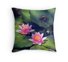 Pink Waterlillies Throw Pillow