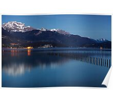 Nightfall on Annecy lake Poster