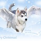 Angel puppy christmas card by Mariann Rea