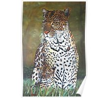 """""""Leopard and Cub"""" - Oil Painting Poster"""