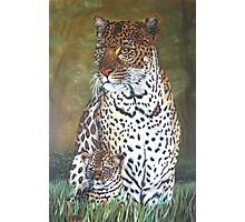 """""""Leopard and Cub"""" - Oil Painting Photographic Print"""