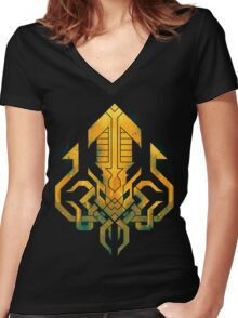 Golden Kraken Sigil Women's Fitted V-Neck T-Shirt