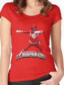 Mighty Morphin Red Ranger - It's Morphin Time! Women's Fitted Scoop T-Shirt