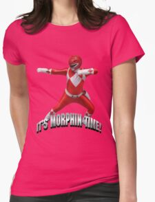 Mighty Morphin Red Ranger - It's Morphin Time! Womens Fitted T-Shirt