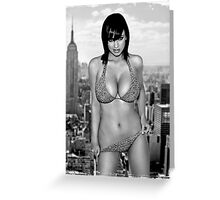 Ass butt grunge girl grey black white city ny new york dirty blonde smile Greeting Card
