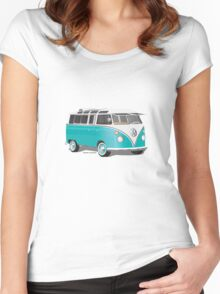 Split VW Bus Teal Women's Fitted Scoop T-Shirt
