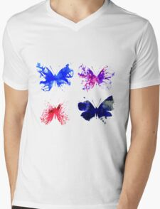 Watercolor Butterflies Mens V-Neck T-Shirt