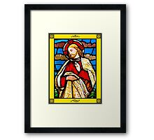 Jesus Christ in Stained Glass with border Framed Print