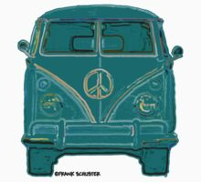 Splitty VW Bus Front Green by Frank Schuster