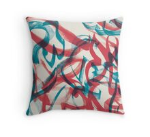 Red and Blue Floral Ink Throw Pillow