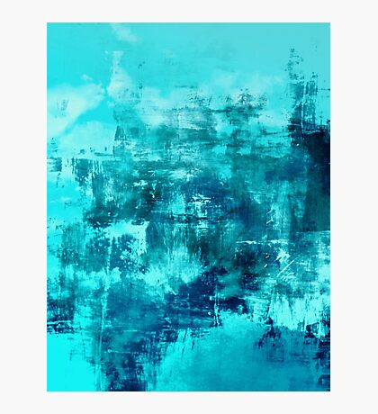 OFF THE GRID 8 Colorful Coastal Fine Art Abstract Watercolor Acrylic Monochrome Turquoise Aqua Teal Painting Photographic Print
