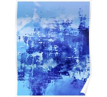 OFF THE GRID 7 Colorful Coastal Fine Art Abstract Watercolor Acrylic Monochrome Turquoise Royal Blue Painting Poster