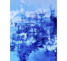 OFF THE GRID 7 Colorful Coastal Fine Art Abstract Watercolor Acrylic Monochrome Turquoise Royal Blue Painting Photographic Print
