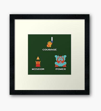 NES Triforce - Courage Wisdom Power - Zelda Framed Print