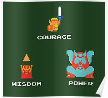 NES Triforce - Courage Wisdom Power - Zelda Poster