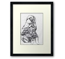 untitled figure~ page from a sketch book Framed Print