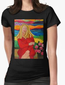 Girl On A Bench Womens Fitted T-Shirt