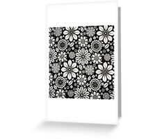 Black and White Flower Pattern Greeting Card