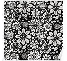 Black and White Flower Pattern Poster